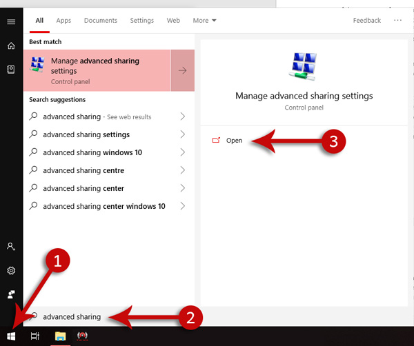 Advance Sharing in Windows 10