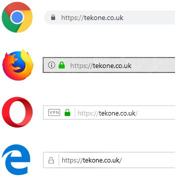 Lock symbol in browser address bars